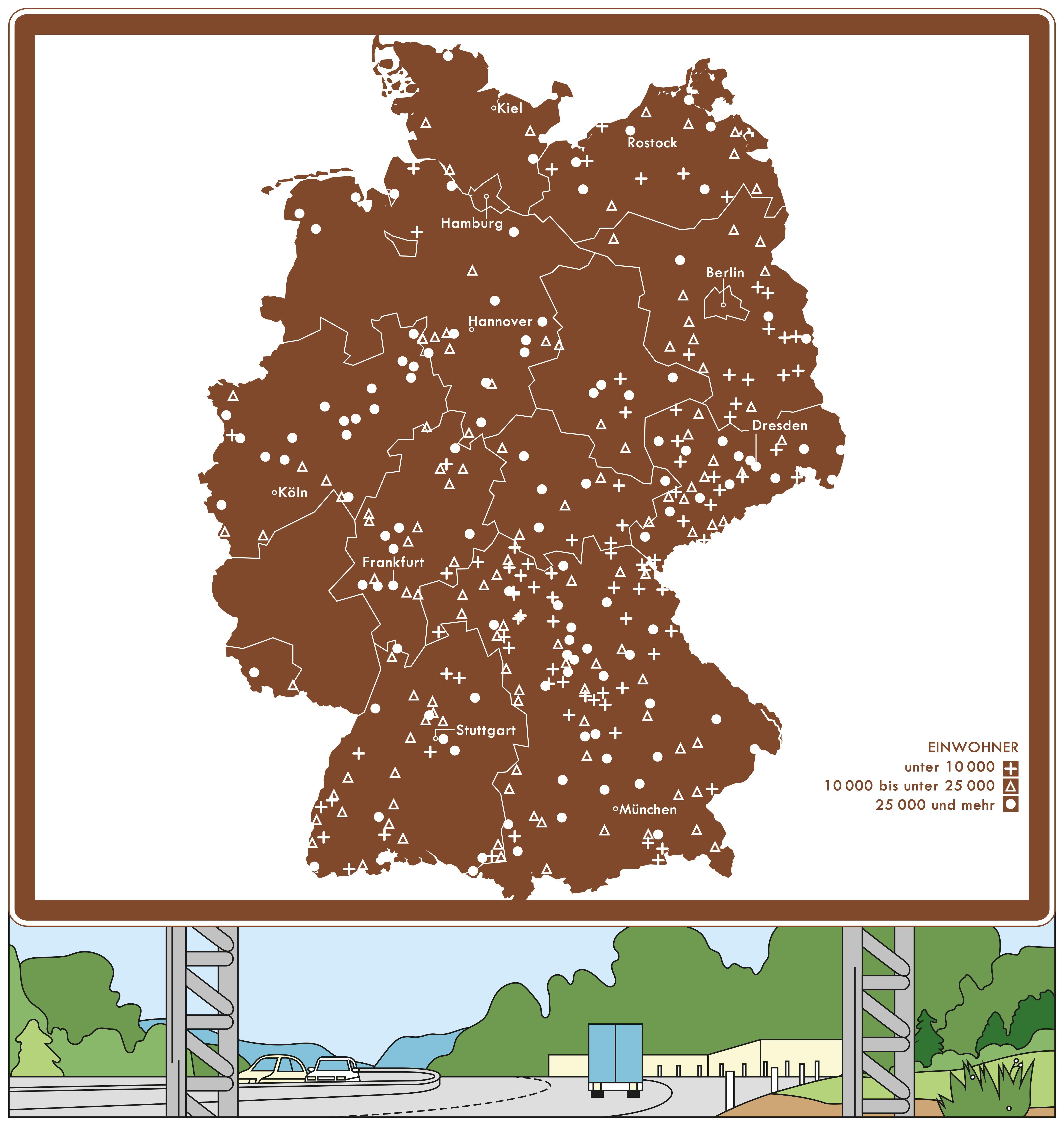 Deutschlandkarte: Die Deutschlandkarte zählt die braunen Schilder neben der Autobahn