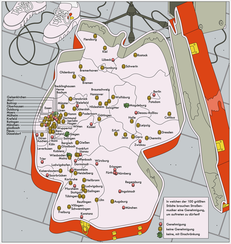 Straßenmusiker: Deutschlandkarte: Straßenmusiker