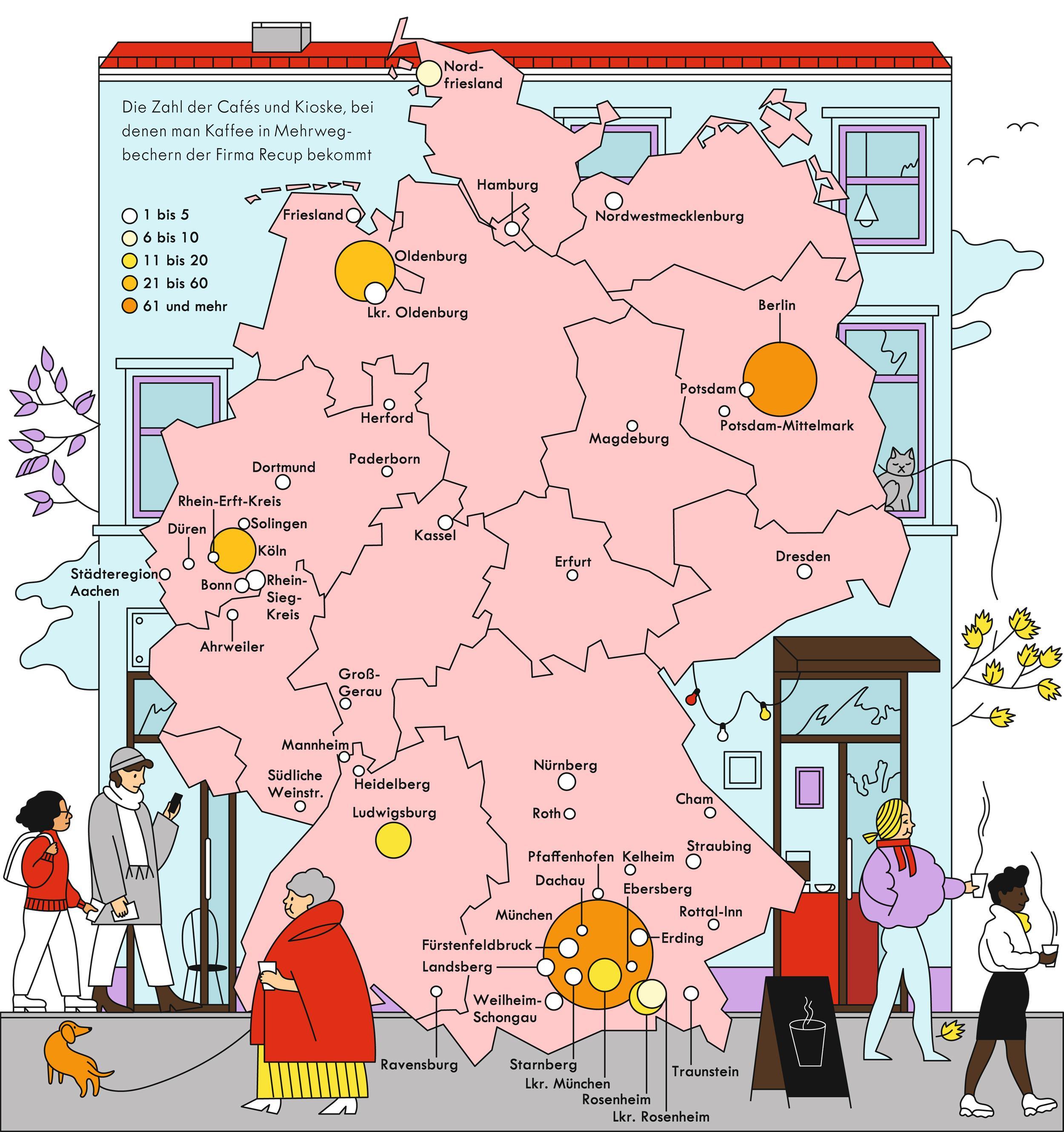 Deutschlandkarte: Mehrweg-Kaffeebecher