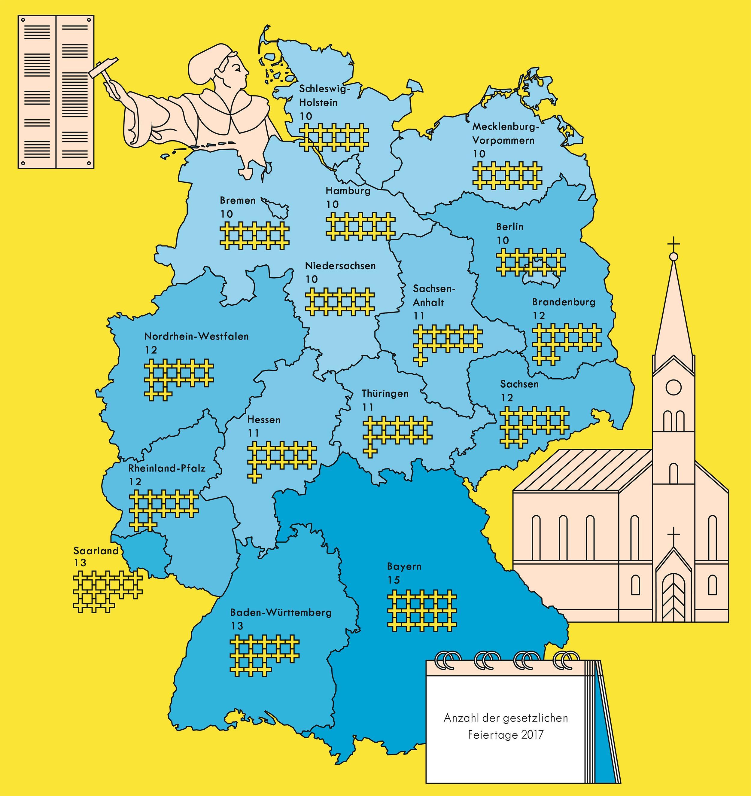 Deutschlandkarte: Feiertage