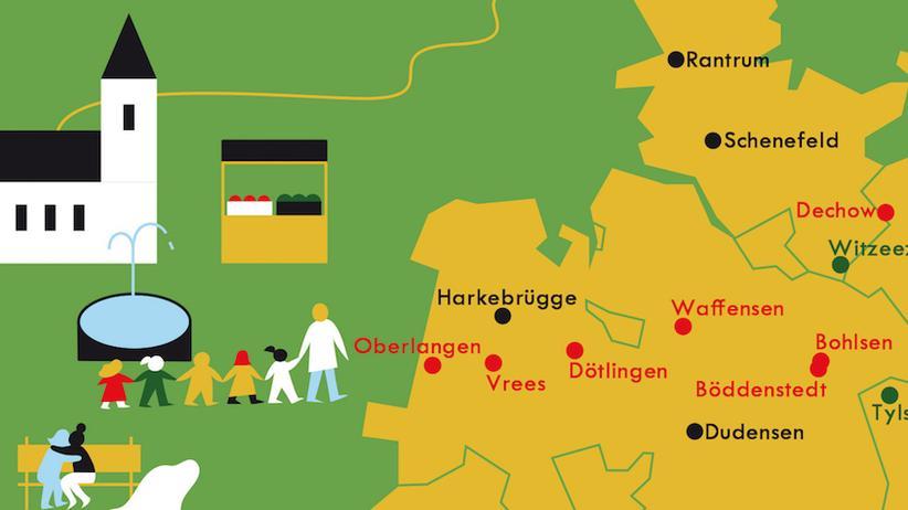 Deutschlandkarte: Lassen wir mal die Kirche im Dorf
