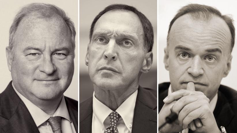 """Finanzkrise: Andrew Gowers, 61 (links), war Kommunikationschef bei Lehman Brothers. Er verließ die Bank drei Tage vor dem Crash. Dick Fuld, 72 (Mitte), war der letzte Chef von Lehman Brothers, wegen seiner brachialen Methoden wurde er auch """"Gorilla der Wall Street"""" genannt. Lenny Fischer, 55 (rechts), war Investmentbanker bei der Dresdner Bank und leitete später den belgischen Finanzinvestor RHJ International."""