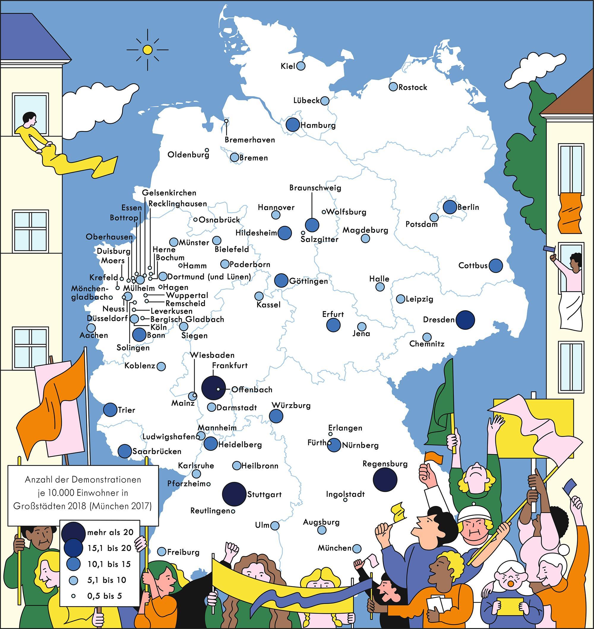 Deutschlandkarte: Demonstrationen