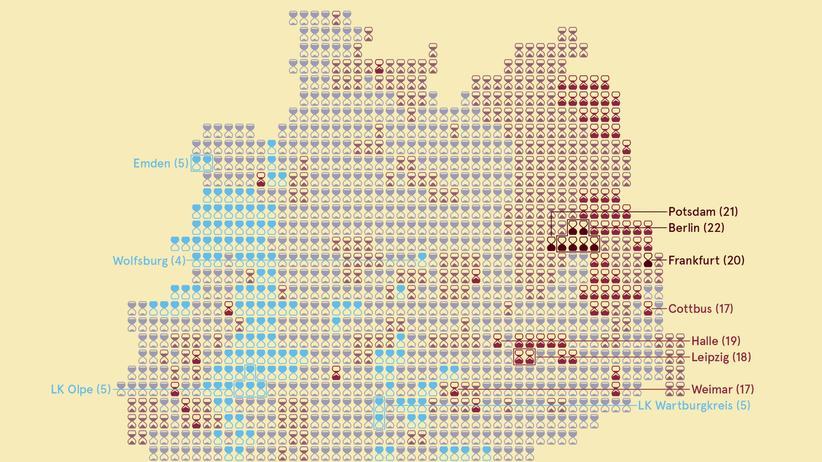 Deutschlandkarte: Männer in Teilzeit