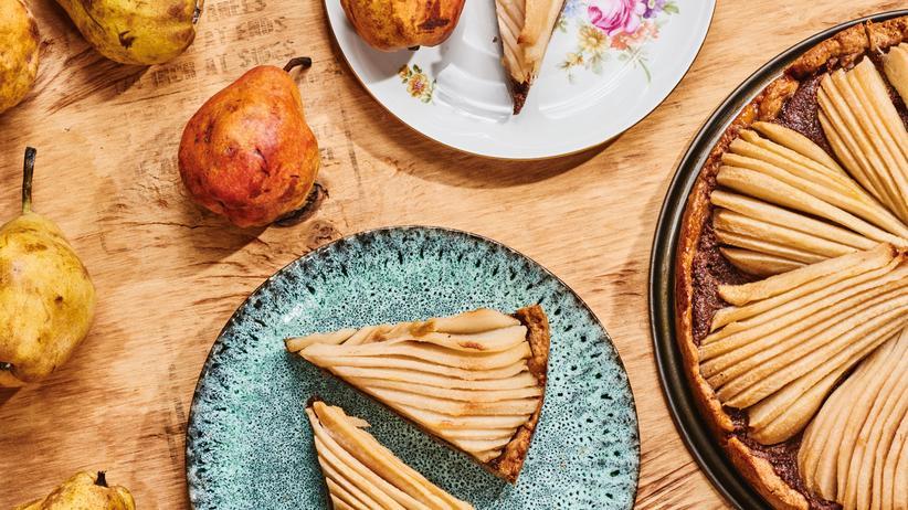 Vegane Birnen-Schoko-Tarte: Nicht allzu gesunde Birnen