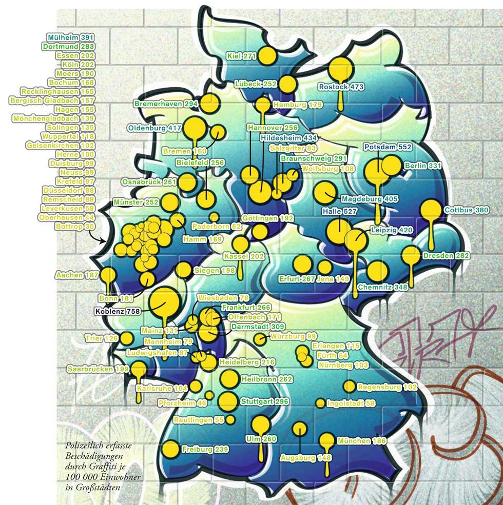 Deutschlandkarte: Graffiti