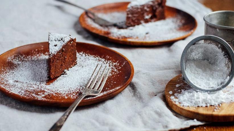 Schokoladenkuchen ohne Mehl, aber mit Ingwer und Meersalz