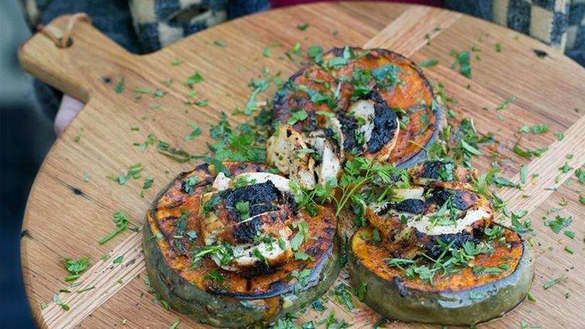 Kürbissalat mit Hähnchenbrust