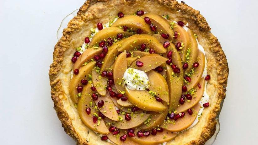 Labneh Pie mit Quittenkompott