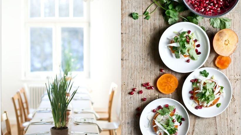 Bunter Kaki-Salat mit Fenchel