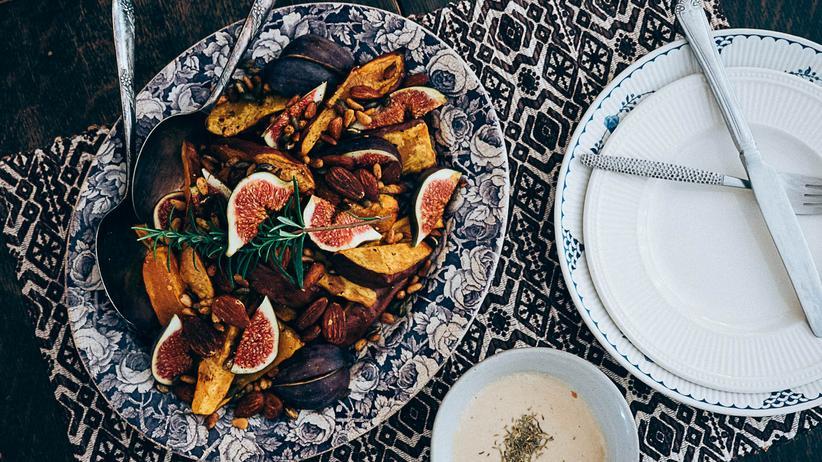 Glutenfrei kochen: In Ahornsirup geröstete Süßkartoffeln mit Feigen und Nüssen