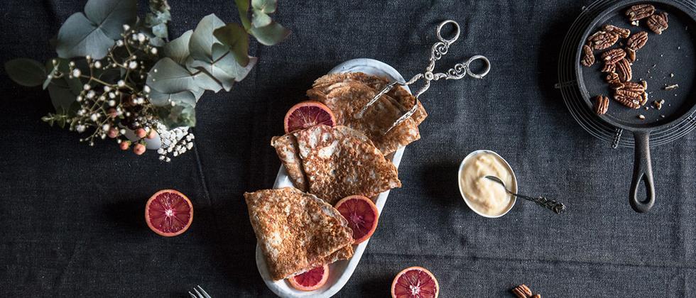 Veganer Crêpe mit Orange Curd