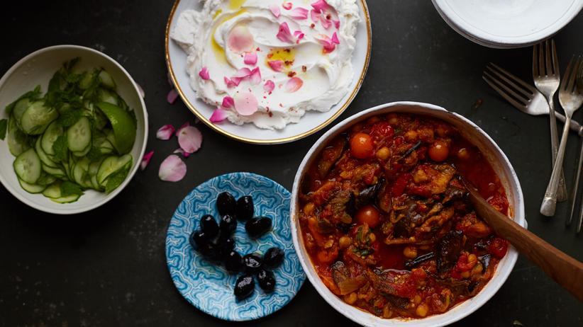 Vegane Küche: Safran-Aubergineneintopf