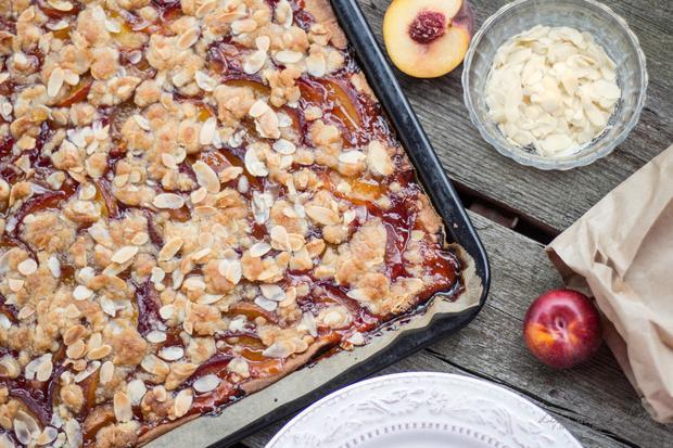 Peach, Plum & Honey Streusel Slap Pie