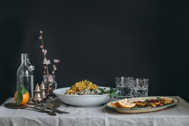 Kräuter-Pilaw mit gebackenem Fisch: Persisch-italienischer Freistil