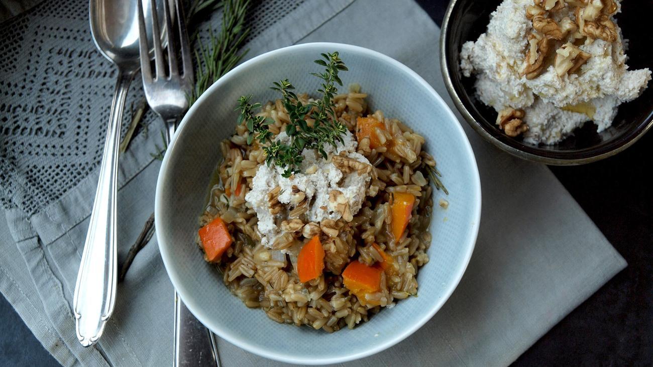 Haferrisotto mit Walnusspesto: Ganz für die Gemüsegenüsse