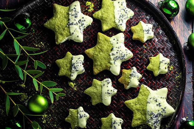Grüne Matcha-Sterne: Matcha-Kekse