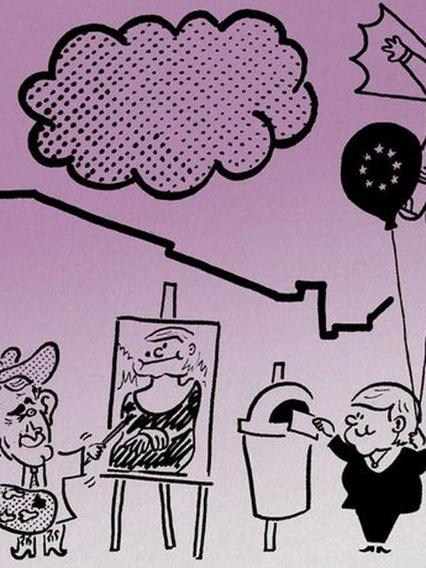 Neulich im Museum: Bush malt Merkel beim Wählen.