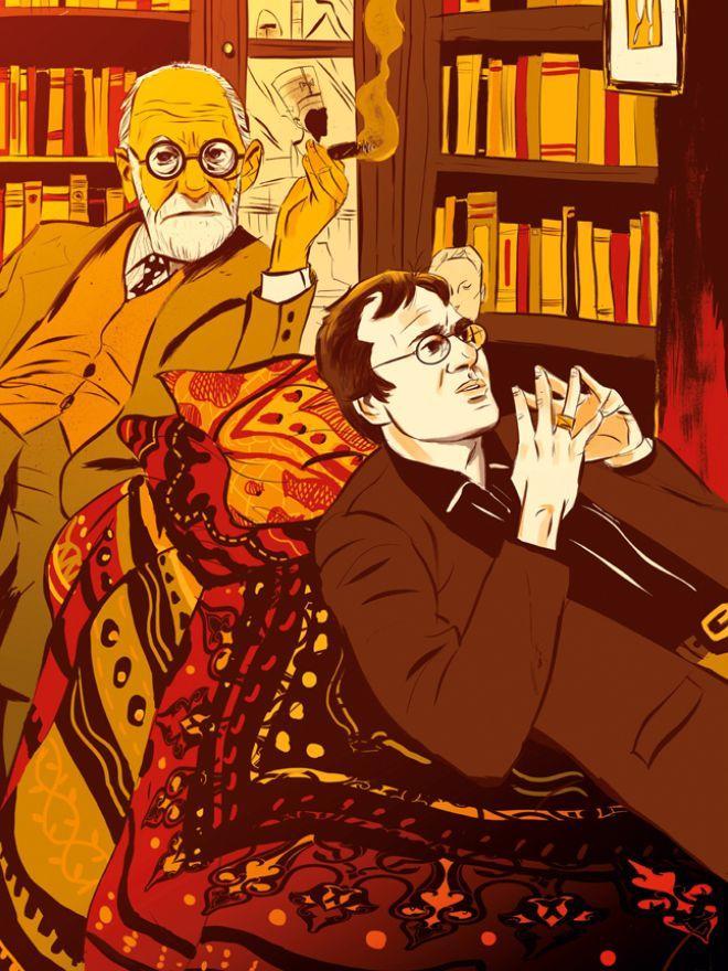 Stefan Kleins Wissenschaftsgespräche: Interview auf der Couch: Wissenschaftsautor Stefan Klein, der gerade ein Buch über Träume geschrieben hat, in Freuds Arbeitszimmer