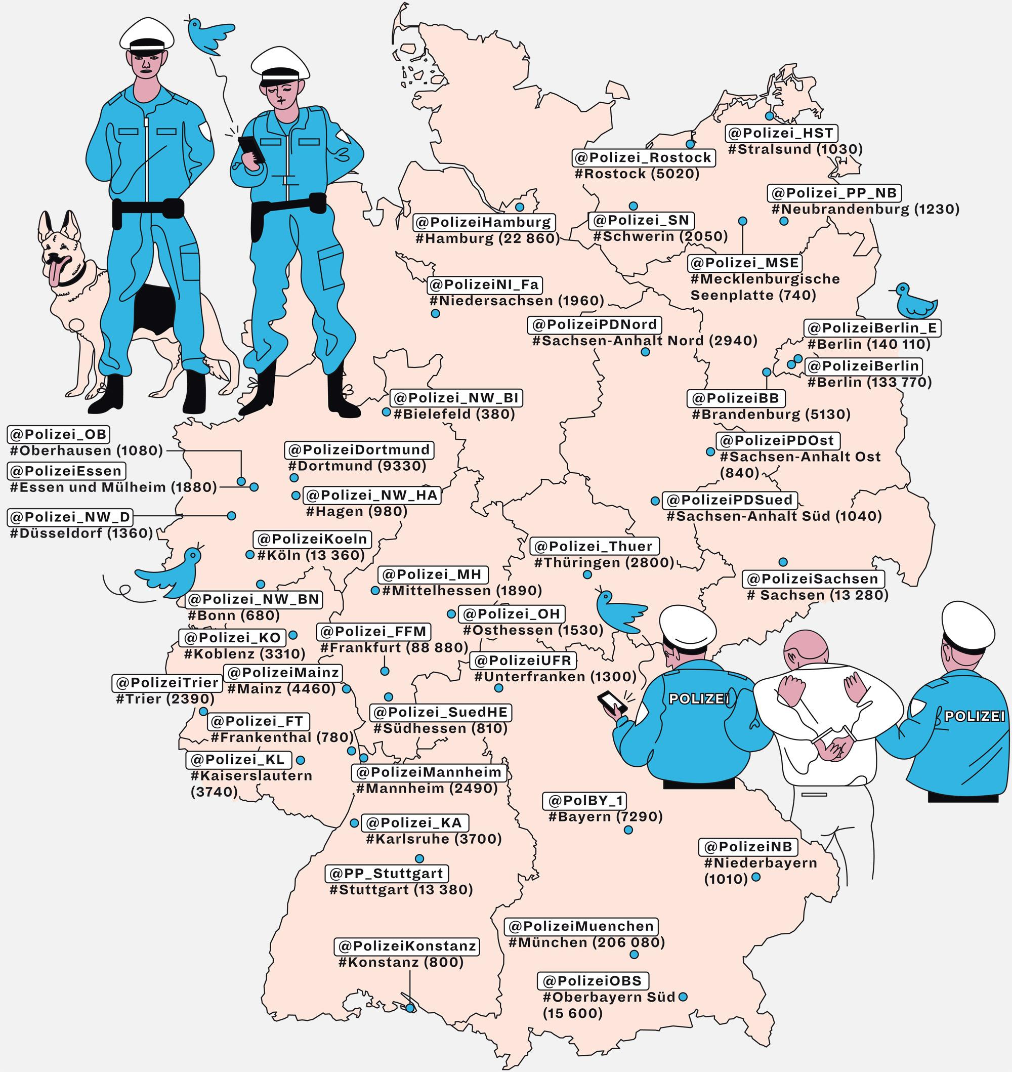 Deutschlandkarte: Twitternde Polizei