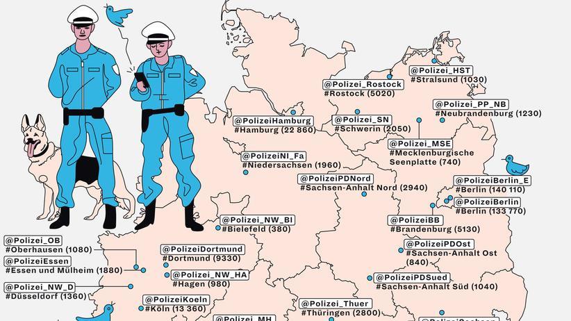 Deutschlandkarte: Die Polizei, dein Freund und Follower