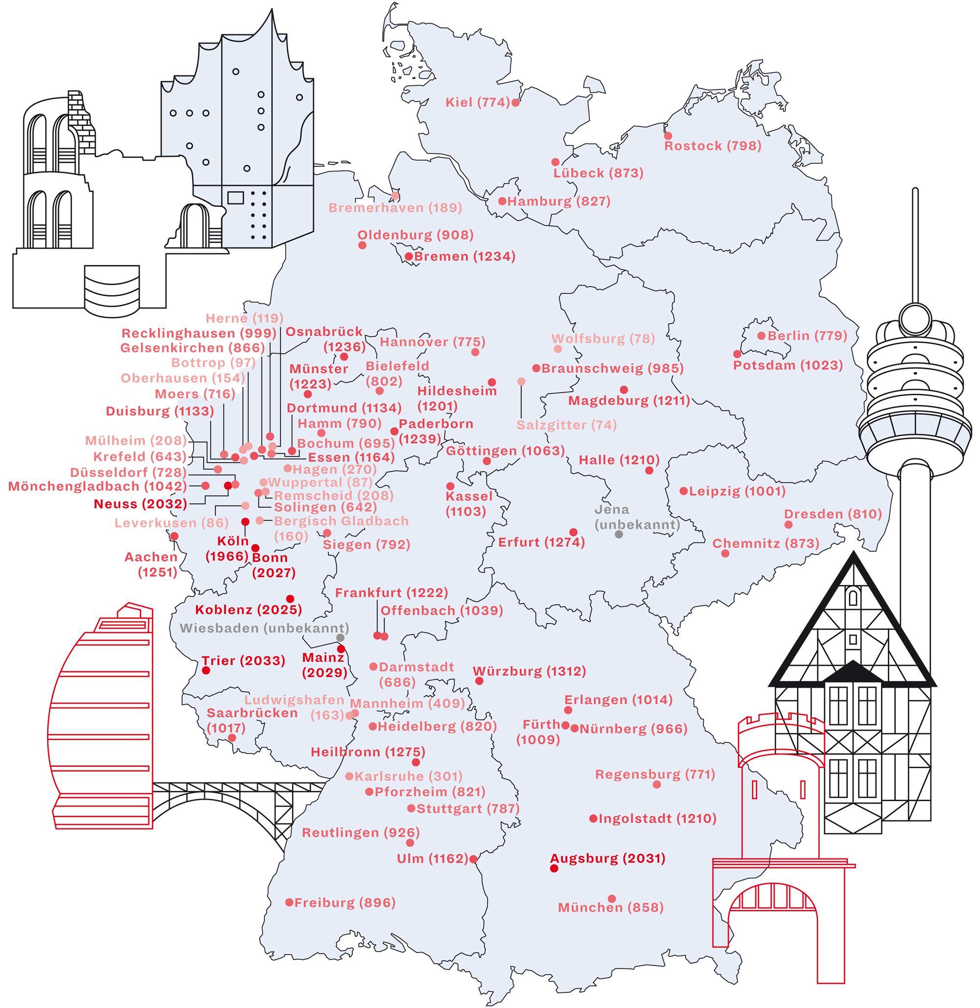 Stadtgeburtstag: Deutschlandkarte