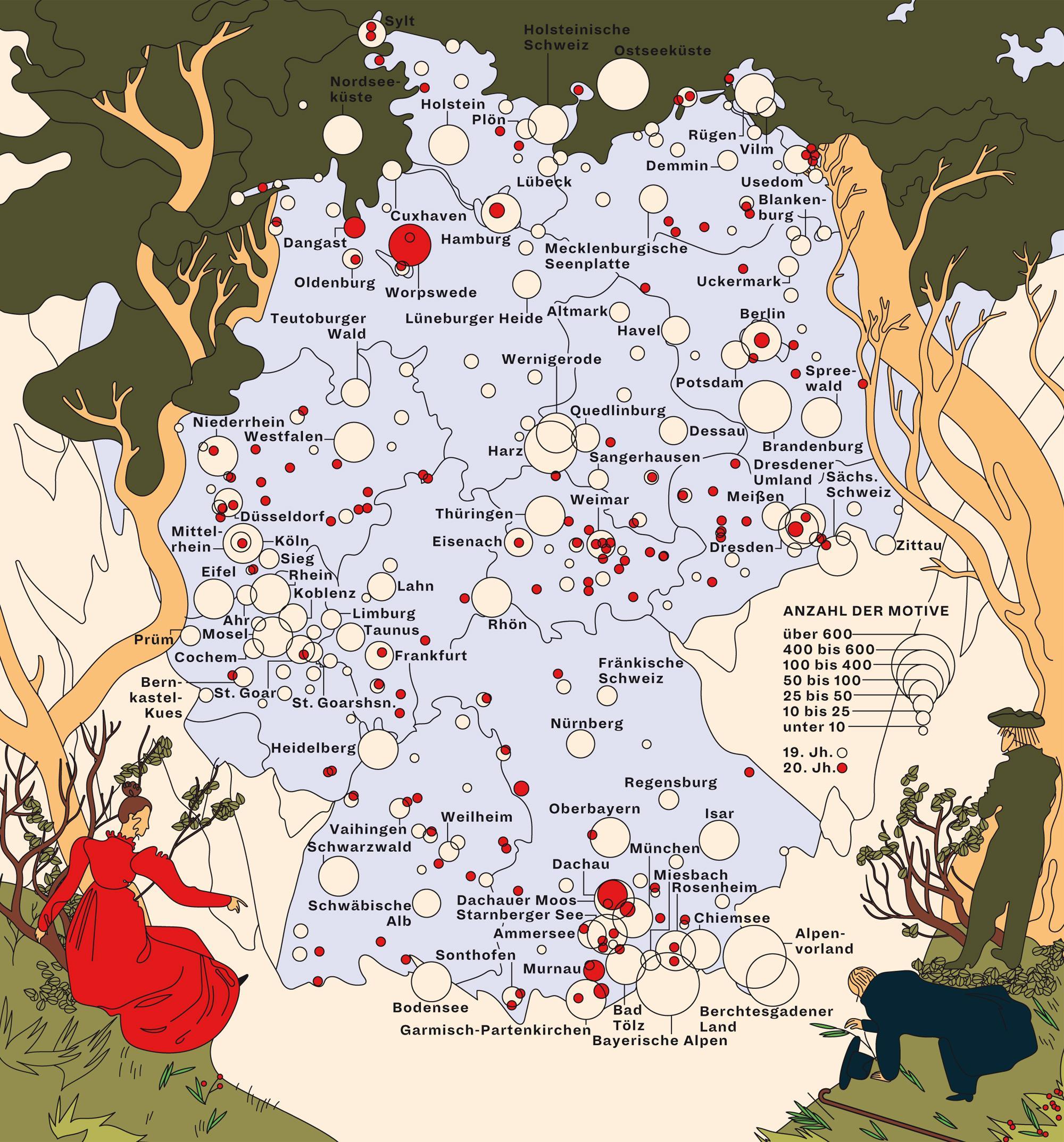 Deutschlandkarte: Landschaftsmalerei
