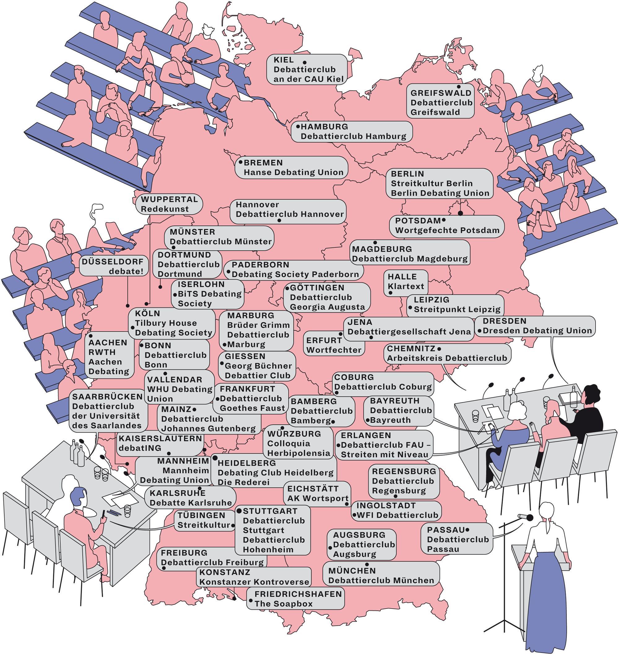 Deutschlandkarte: Akademische Debattierclubs