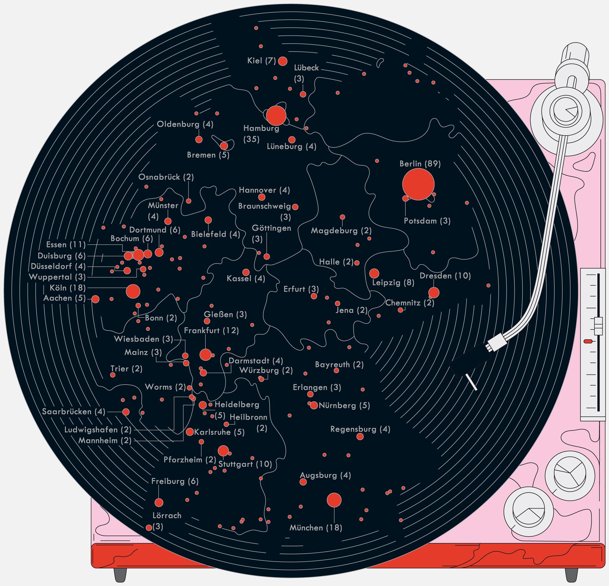 Deutschlandkarte: Schallplattenläden