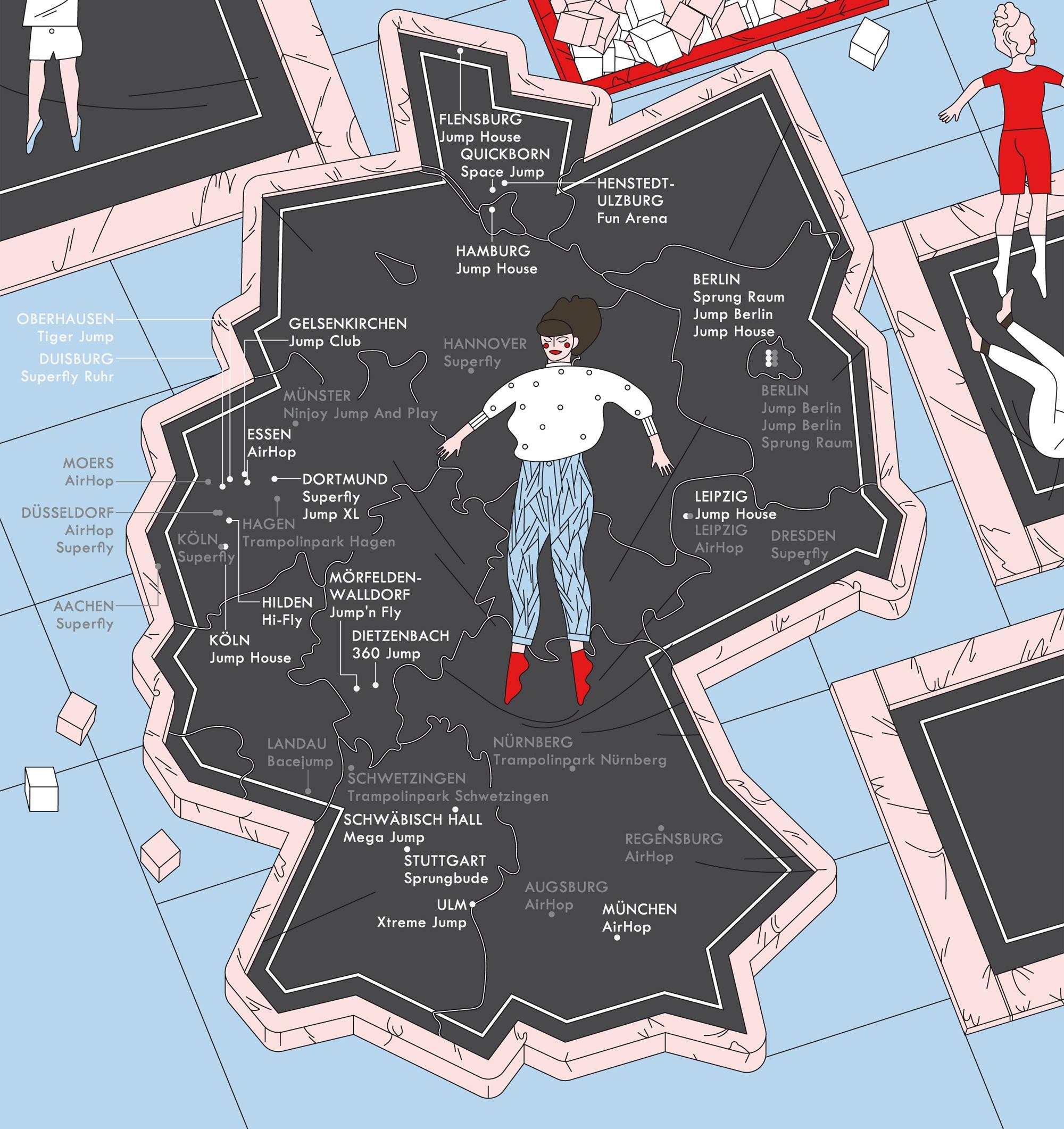 Deutschlandkarte: Trampolinhallen