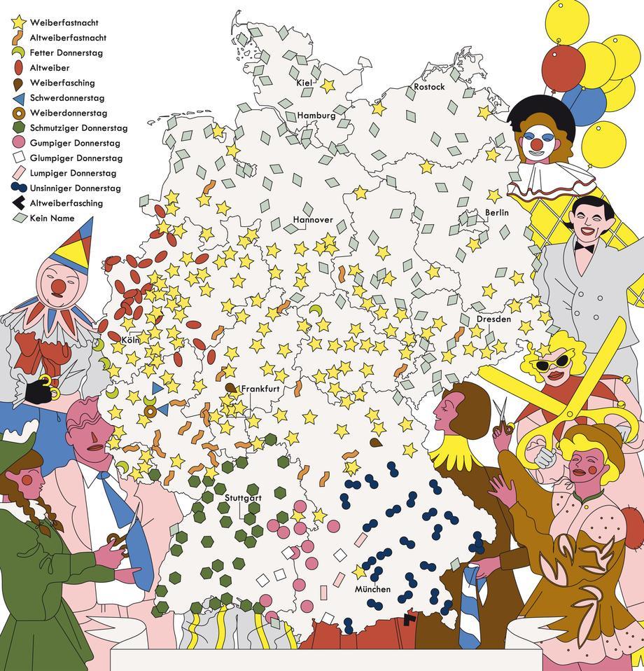 """Deutschlandkarte: """"Weiberfastnacht"""""""