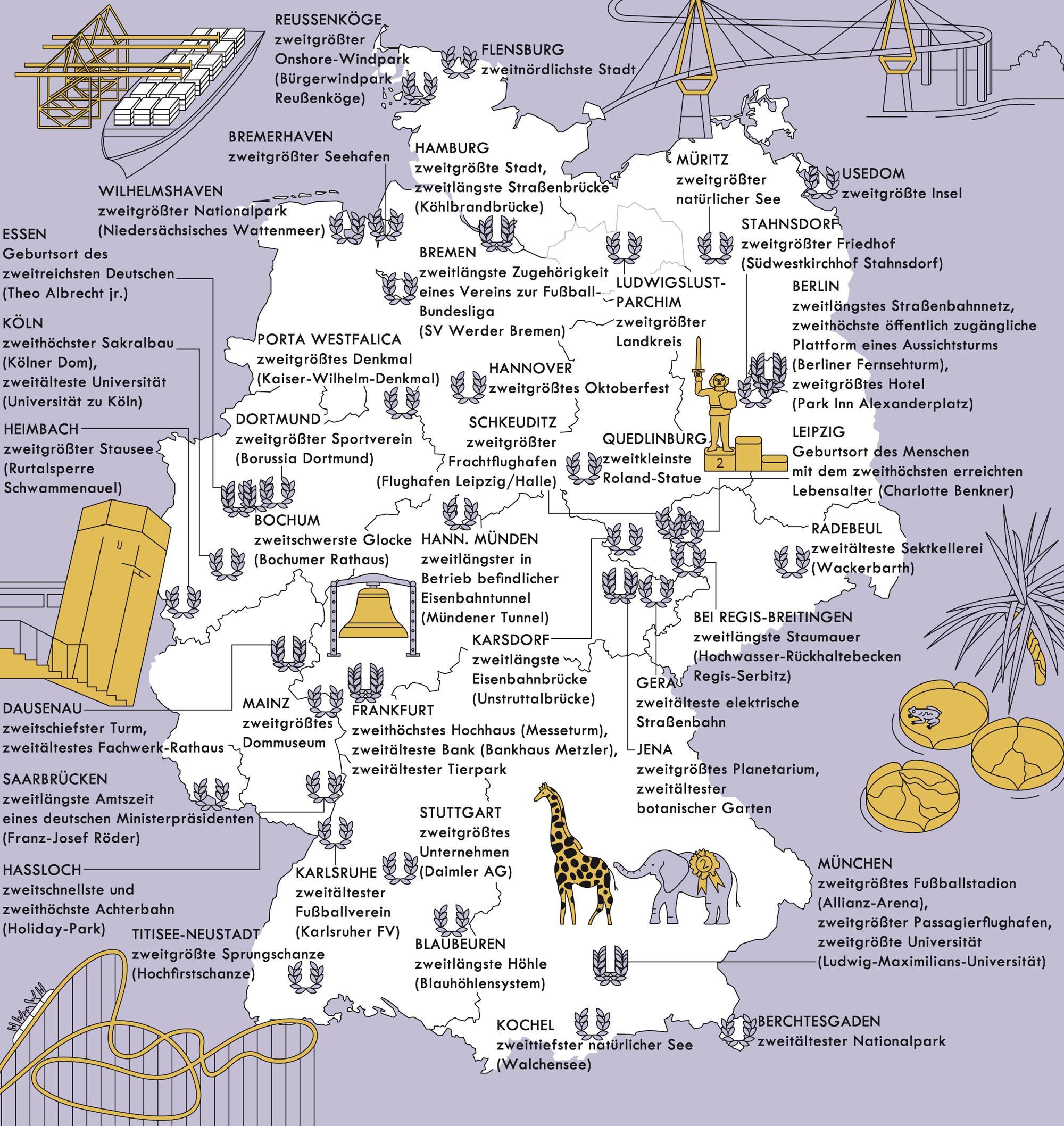 Deutschlandkarte: Die ewigen Zweiten
