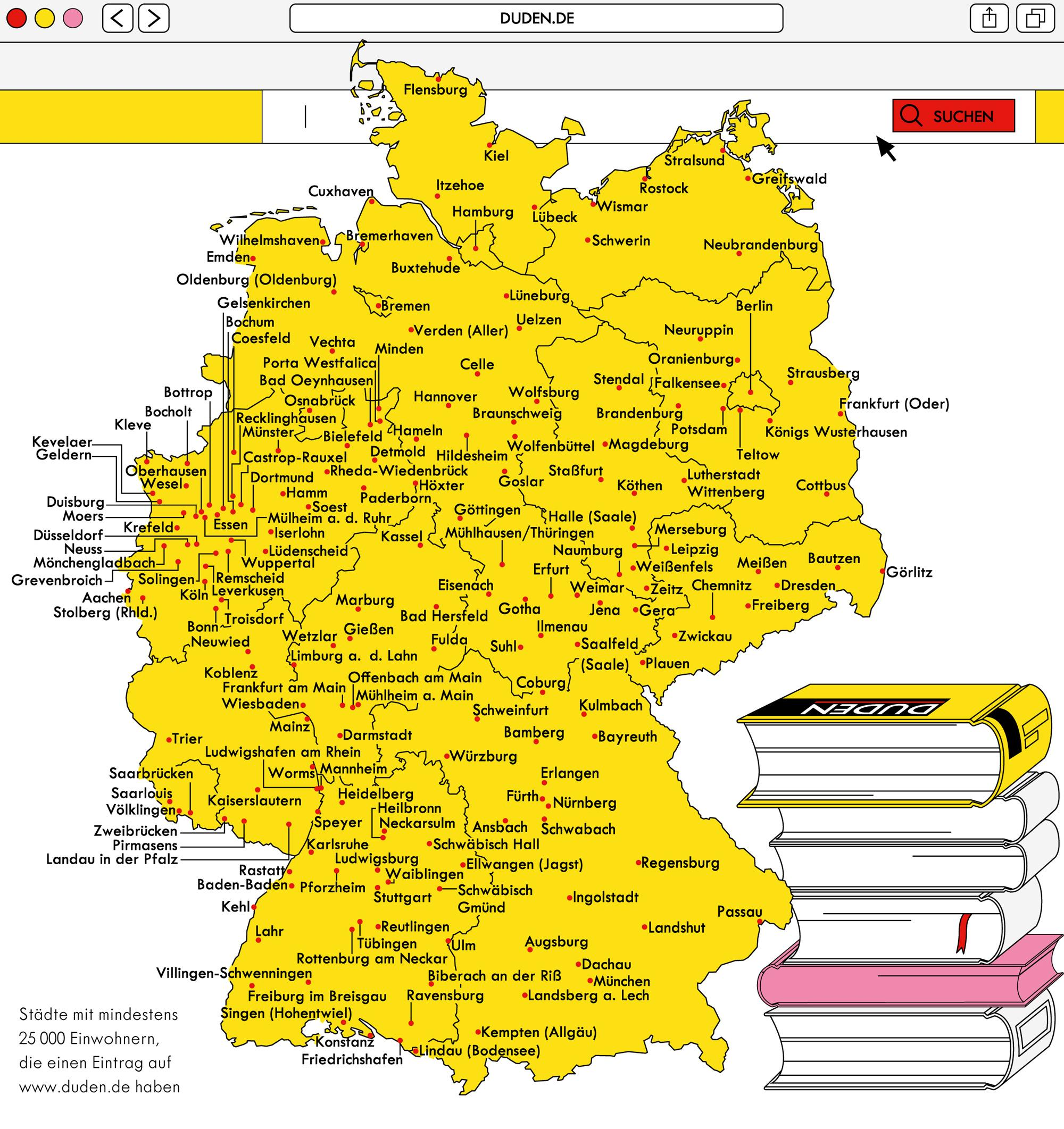 Deutschlandkarte: Städte im Duden