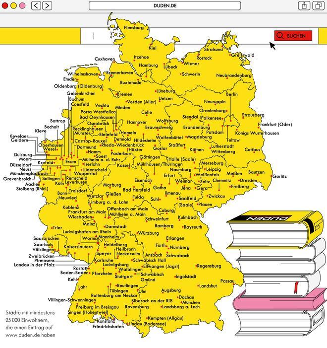 deutschland karte städte Deutschlandkarte: Städte im Duden | ZEITmagazin