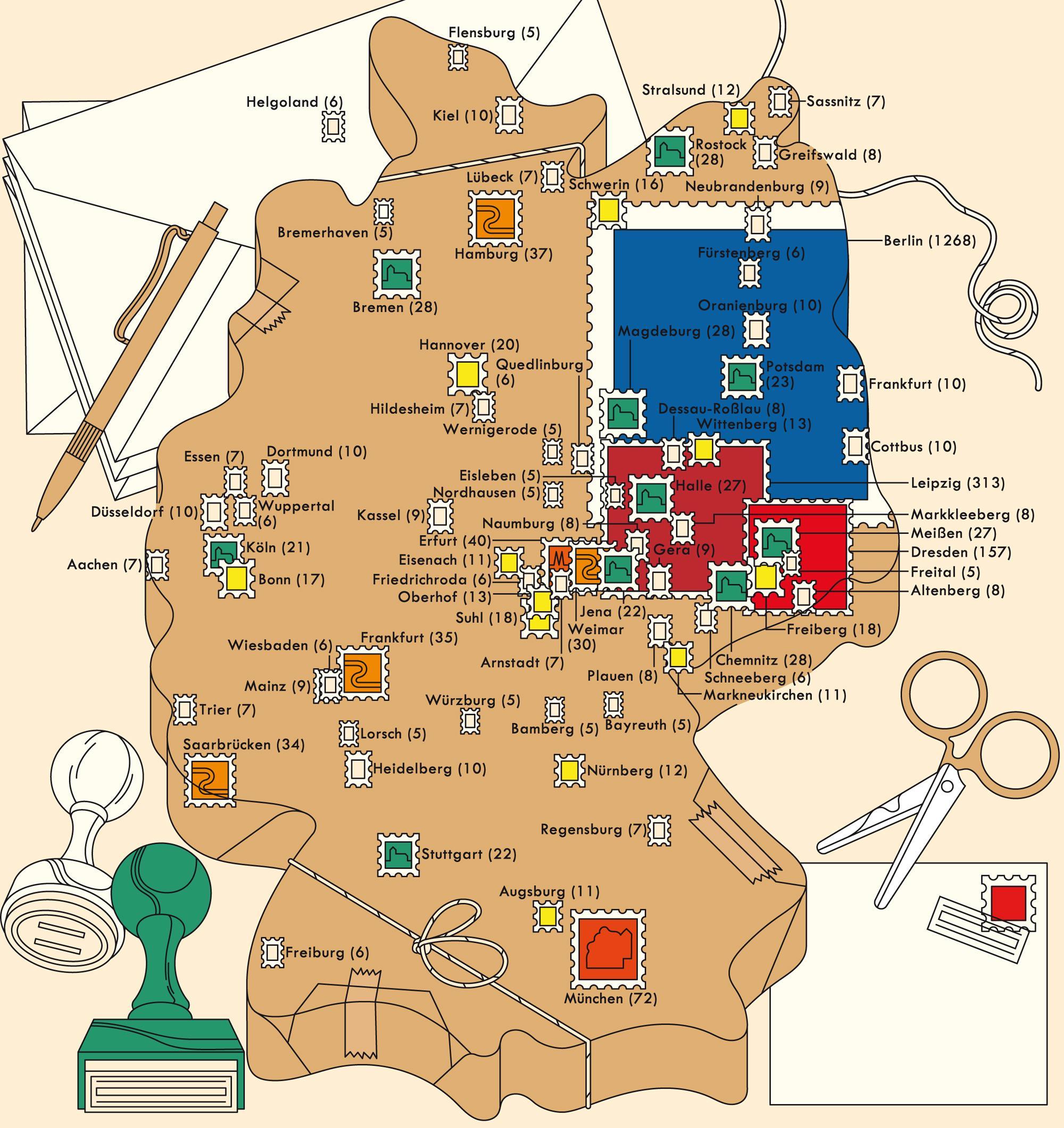Deutschlandkarte: Städte auf Briefmarken