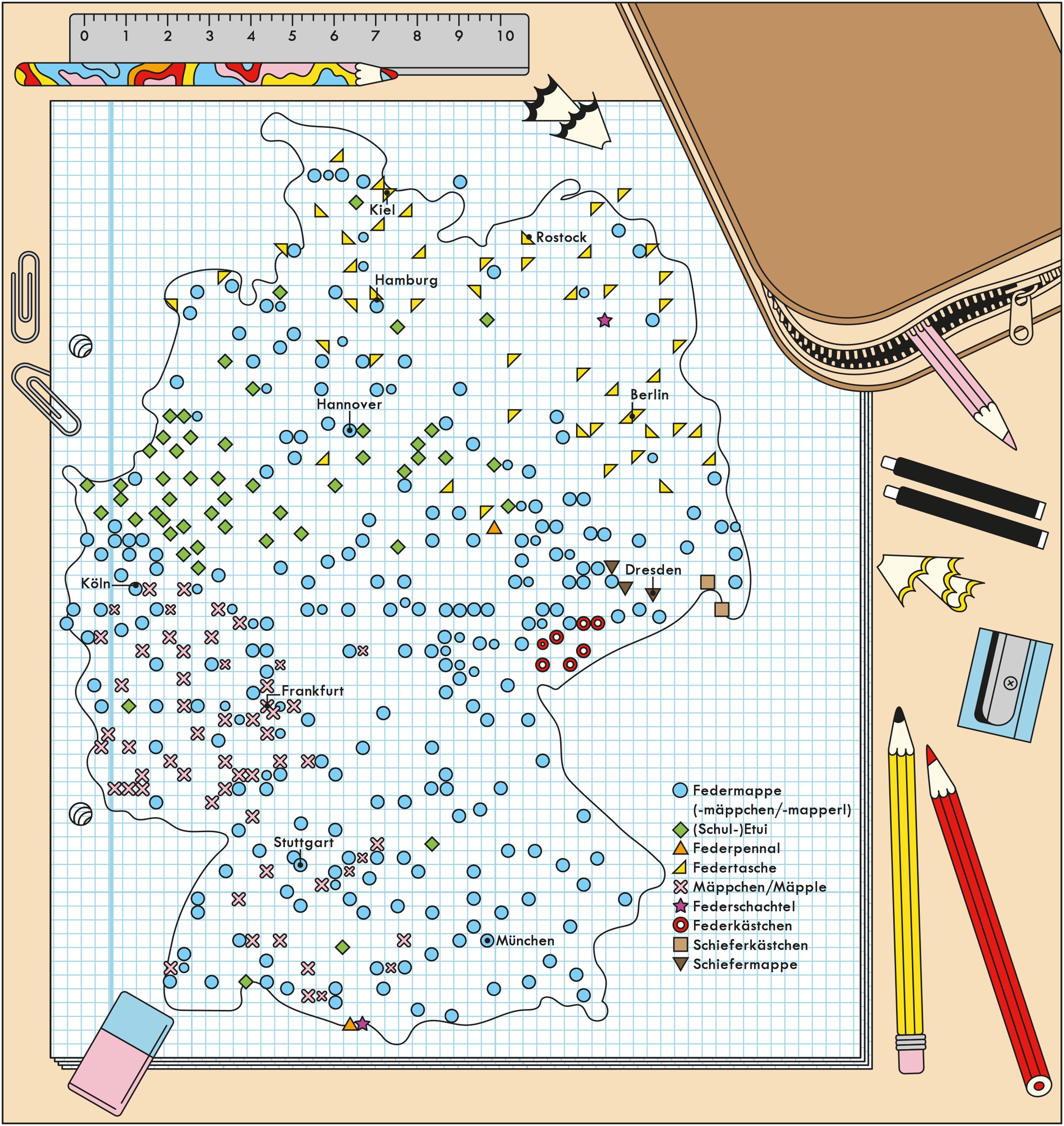 Deutschlandkarte: Das Federmäppchen