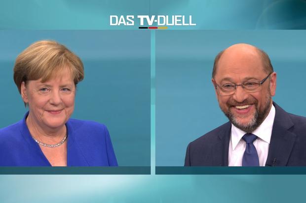 Kanzlerduell: Gemeinschaft der Heiligen: Schulz und Merkel