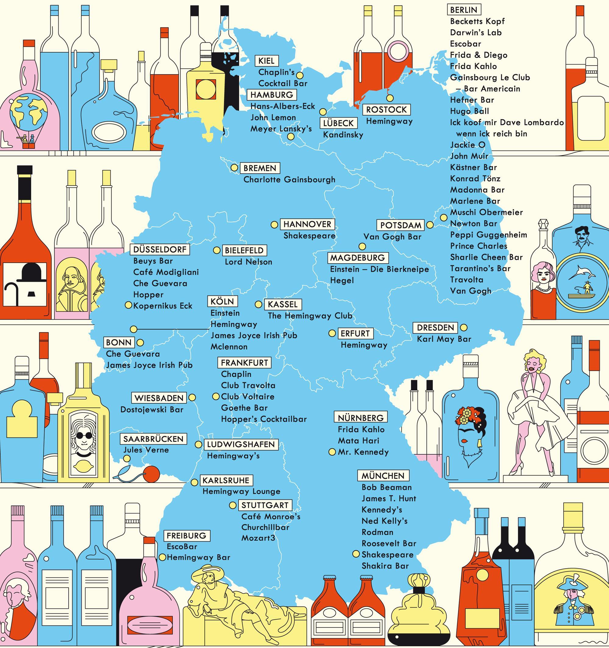 Deutschlandkarte: Lokale, die nach Prominenten benannt sind