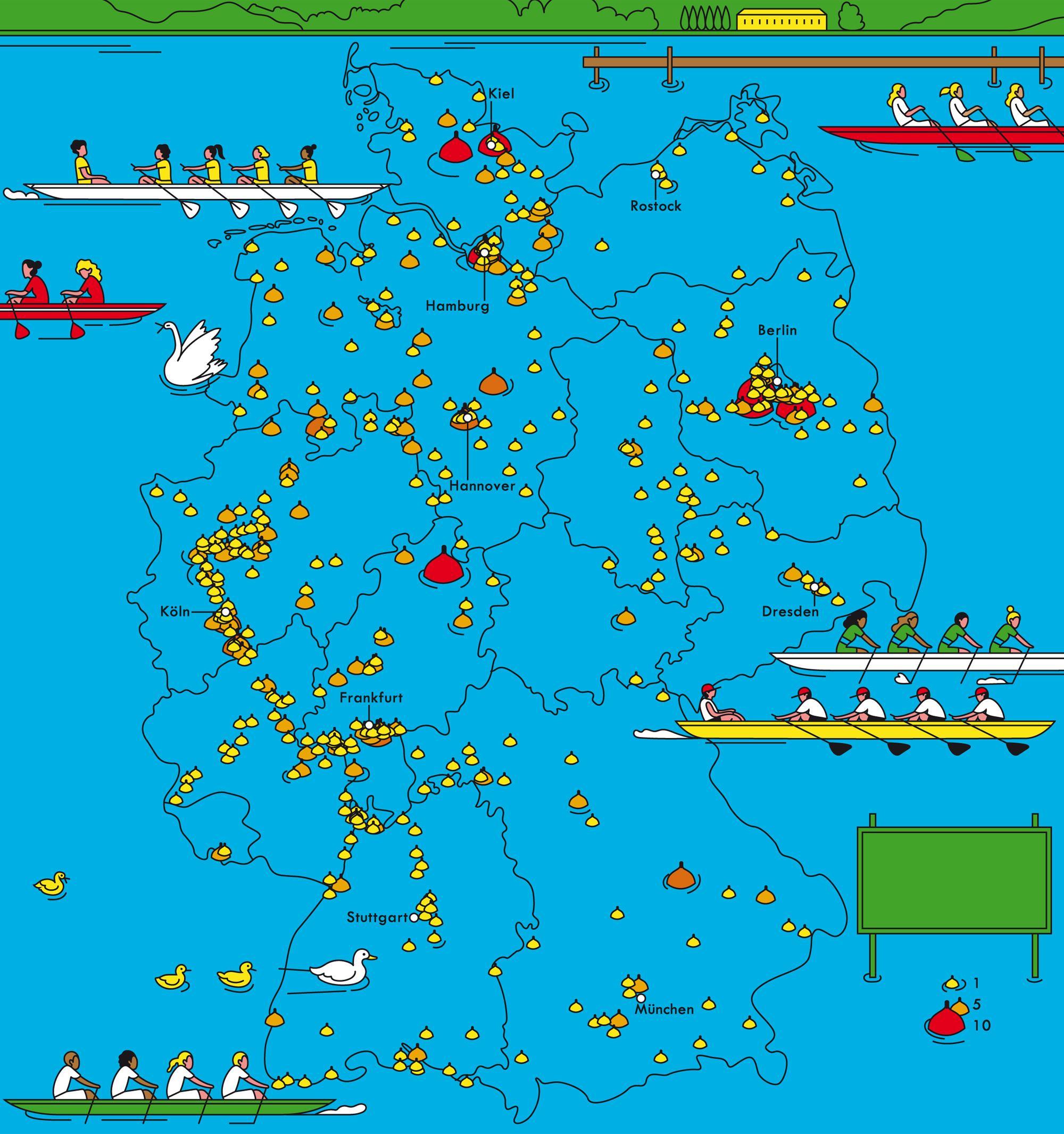 Deutschlandkarte: Rudervereine