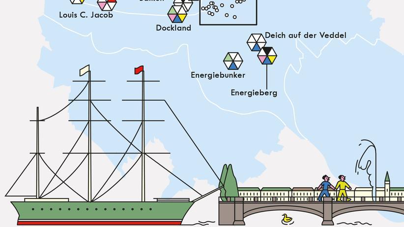 Hamburgkarte: Die Stadt von oben betrachtet