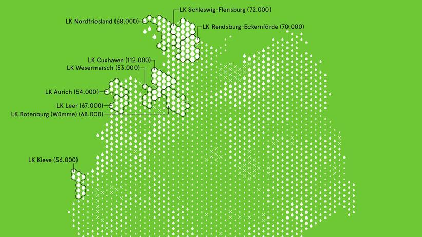 Deutschlandkarte: Die meisten Milchkühe leben an der Küste