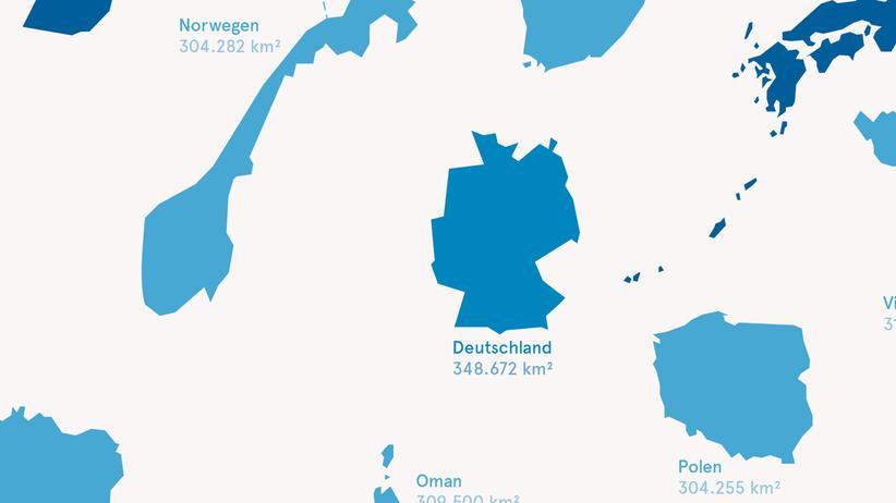 Deutschlandkarte: Größenvergleich